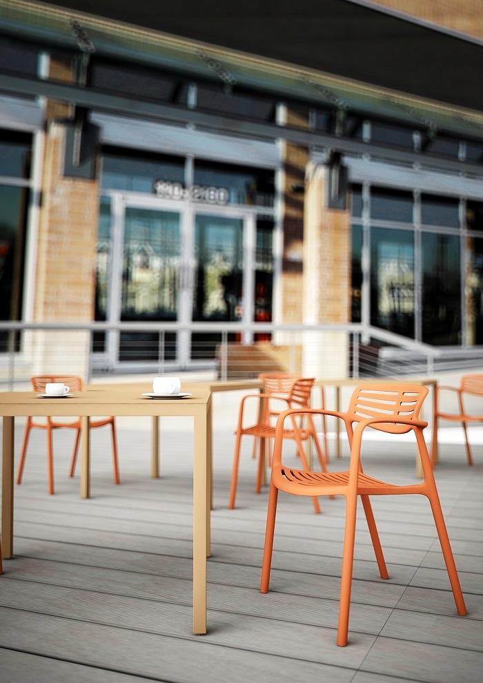 Krzesło do ogródka kawiarni białe Toledo Resol