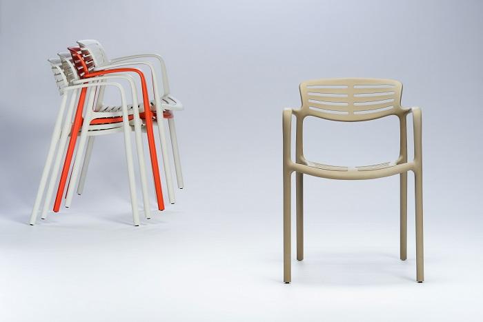 Krzesło z tworzywa pomarańczowe Toledo RESOL