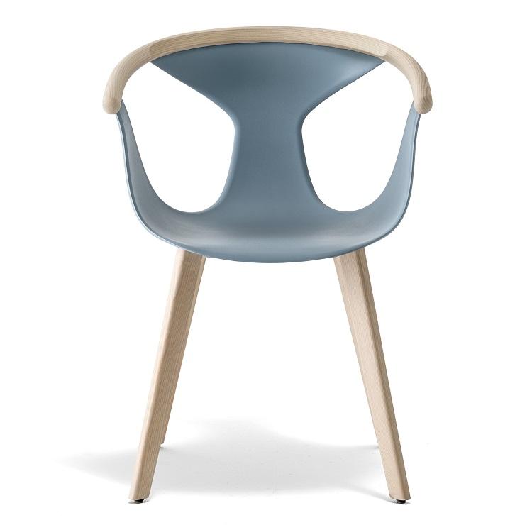 Krzesło błękitne kubełkowe na drewnianych nogach FOX Pedrali