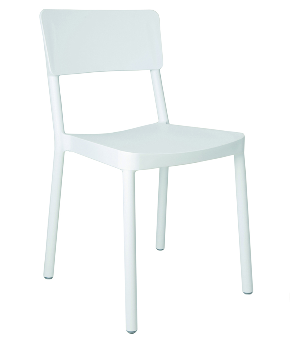 Krzesło restauracyjne białe z tworzywa Lisboa Resol