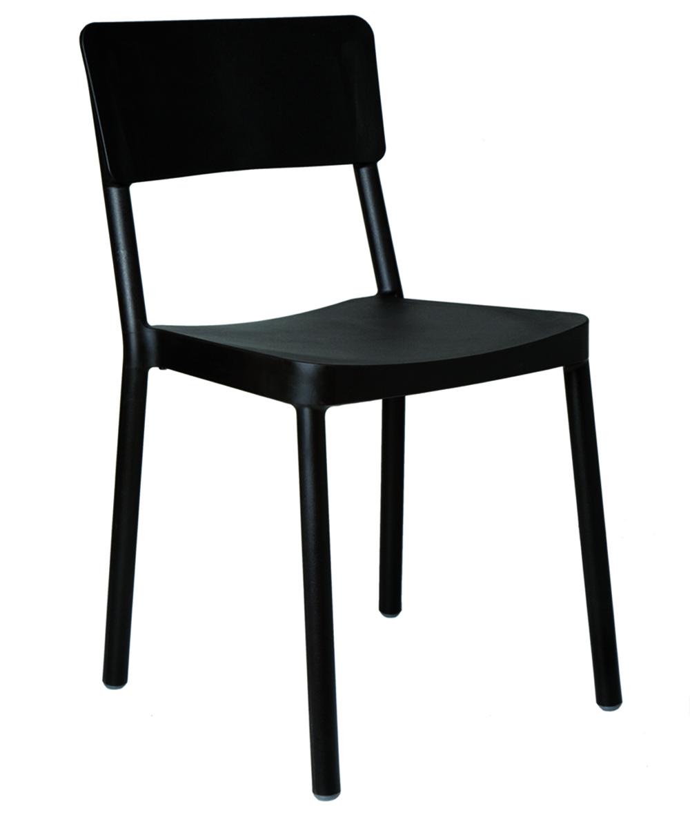 krzesło do kawiarni z tworzywa czarne Lisboa Resol