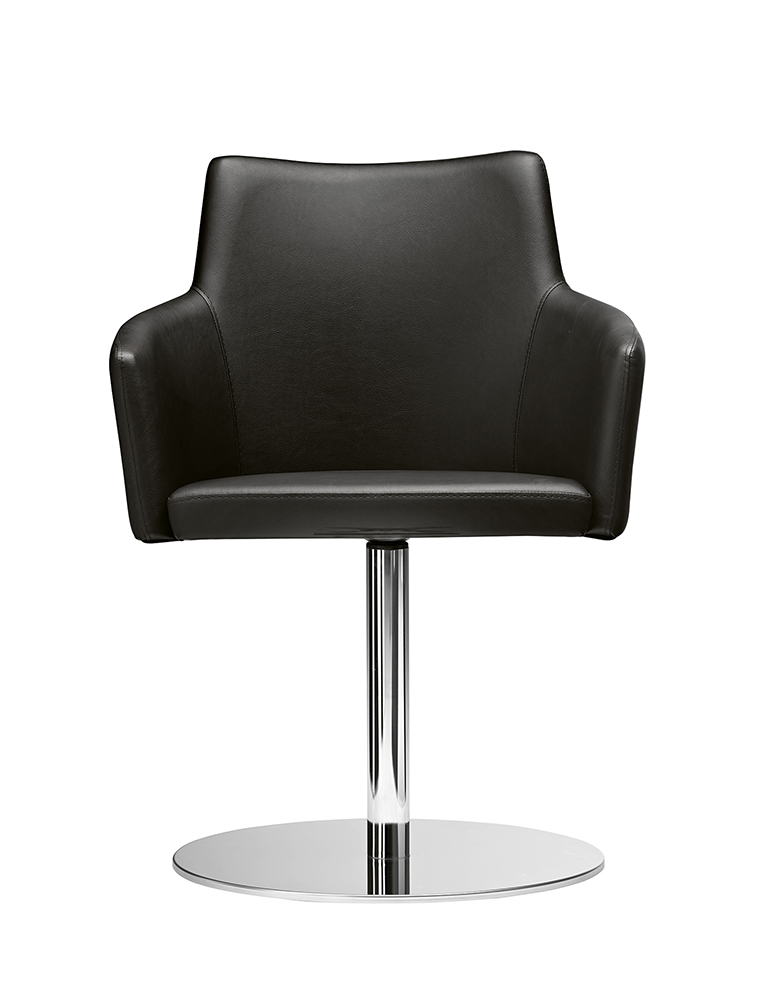 Fotel konferencyjny chromowany o stopie okrągłej Marka Metalmobil