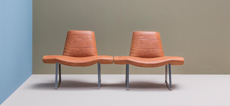 Fotel skórzany niski Mies Pedrali