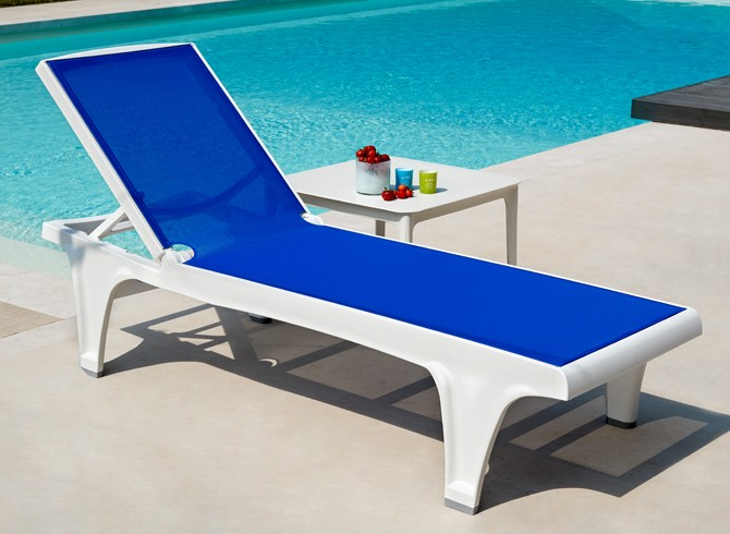 leżak basenowy biało niebieski Tahiti
