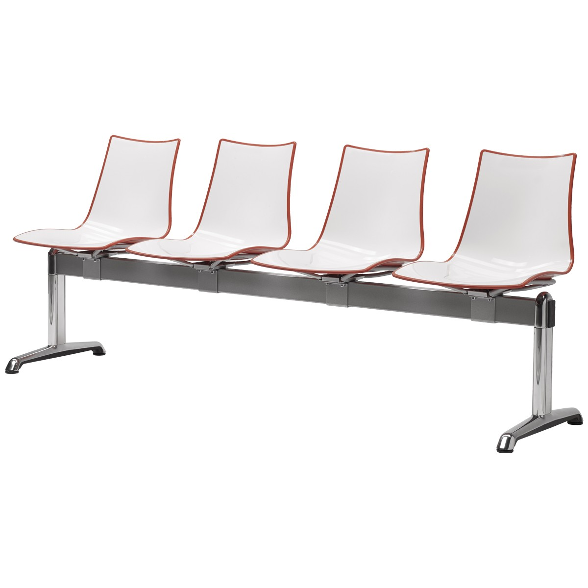 Ławka czteroosobowa do poczekalni z siedziskami z tworzywa Zebra Scab Design