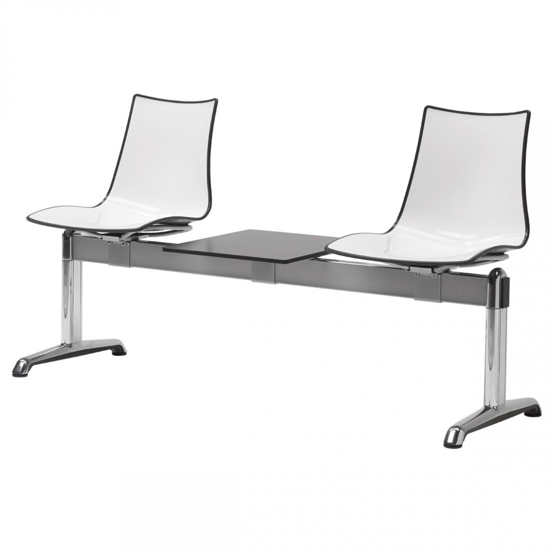 Ławka do poczekalni ze stolikiem 2 osobowa Zebra Scab Design