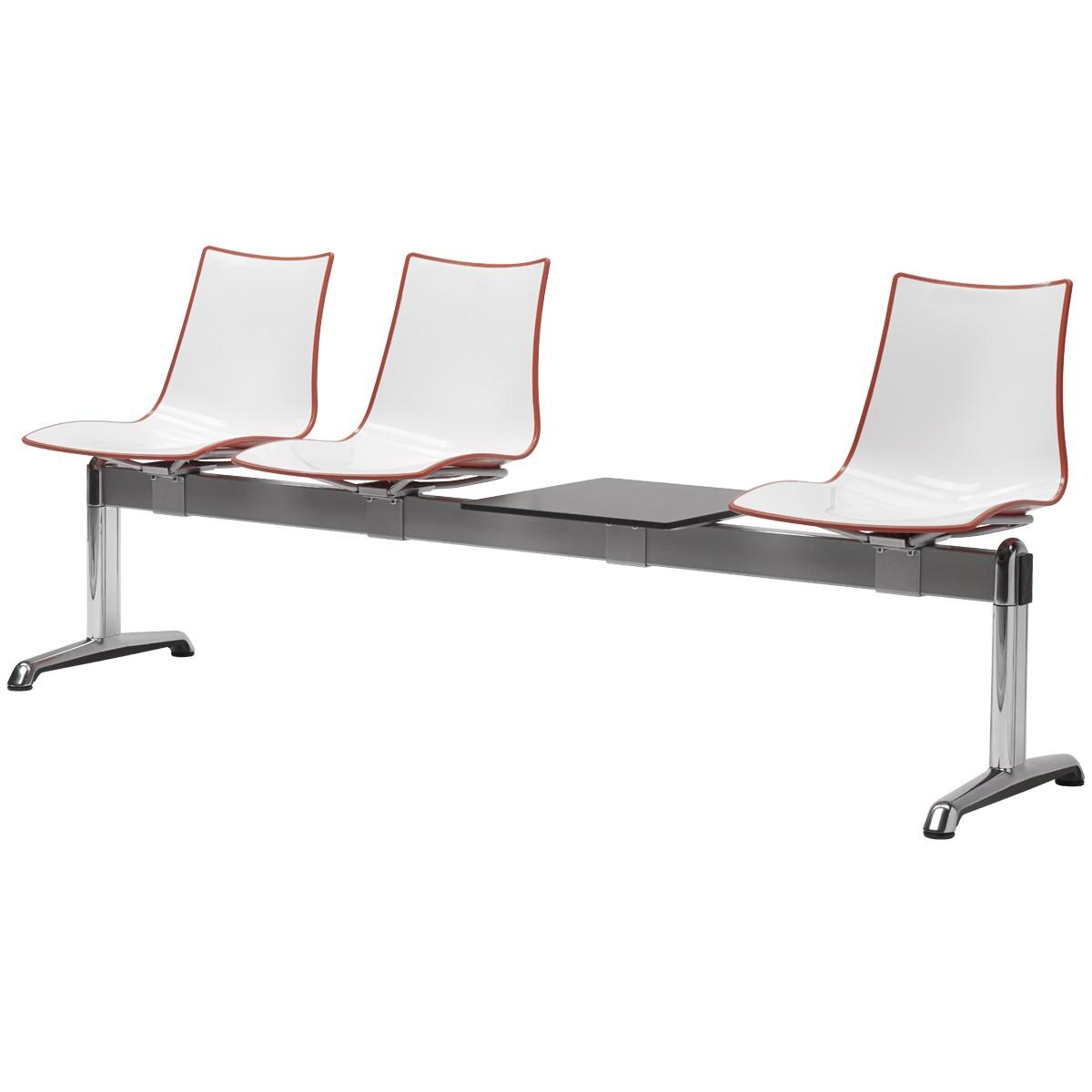 Ławka do poczekalni trzy osoby siedzisko z tworzywa Zebra Scab Design