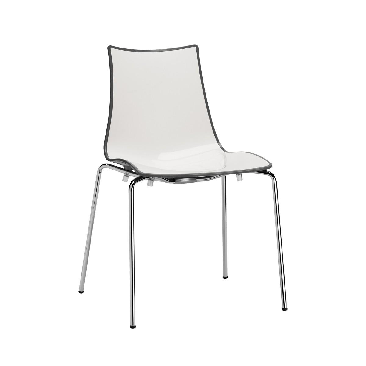 Chromowane krzesło do restauracji Zebra bicolore scab design