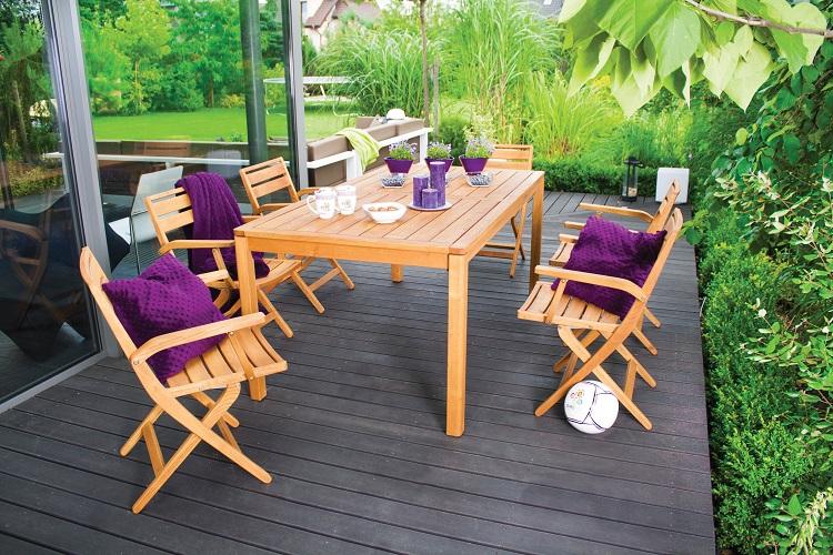 Drewniany stół obiadowy na taras Galaxy Rondo