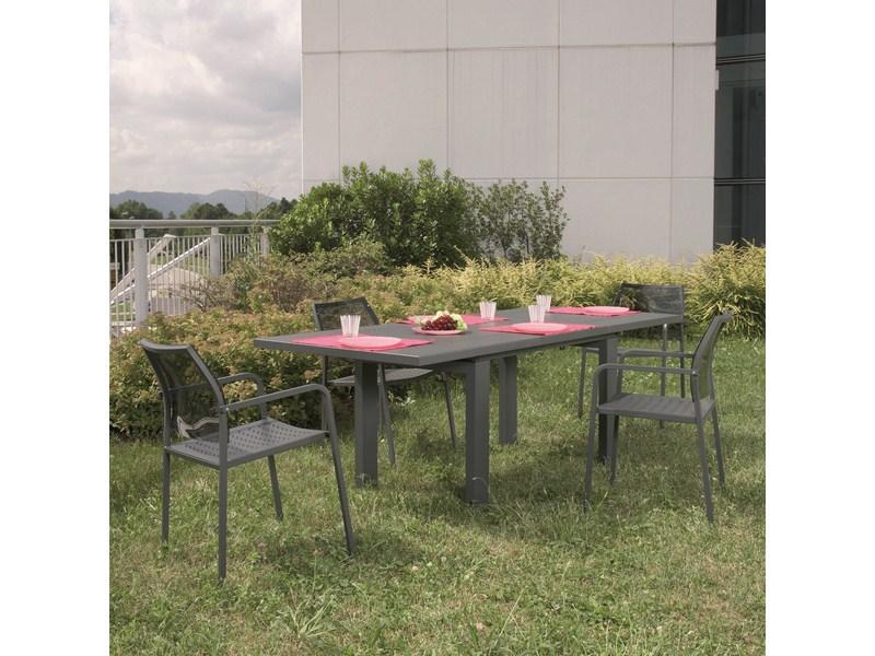 Stół metalowy do ogrodu z rozkładanym blatem HELIOS 160