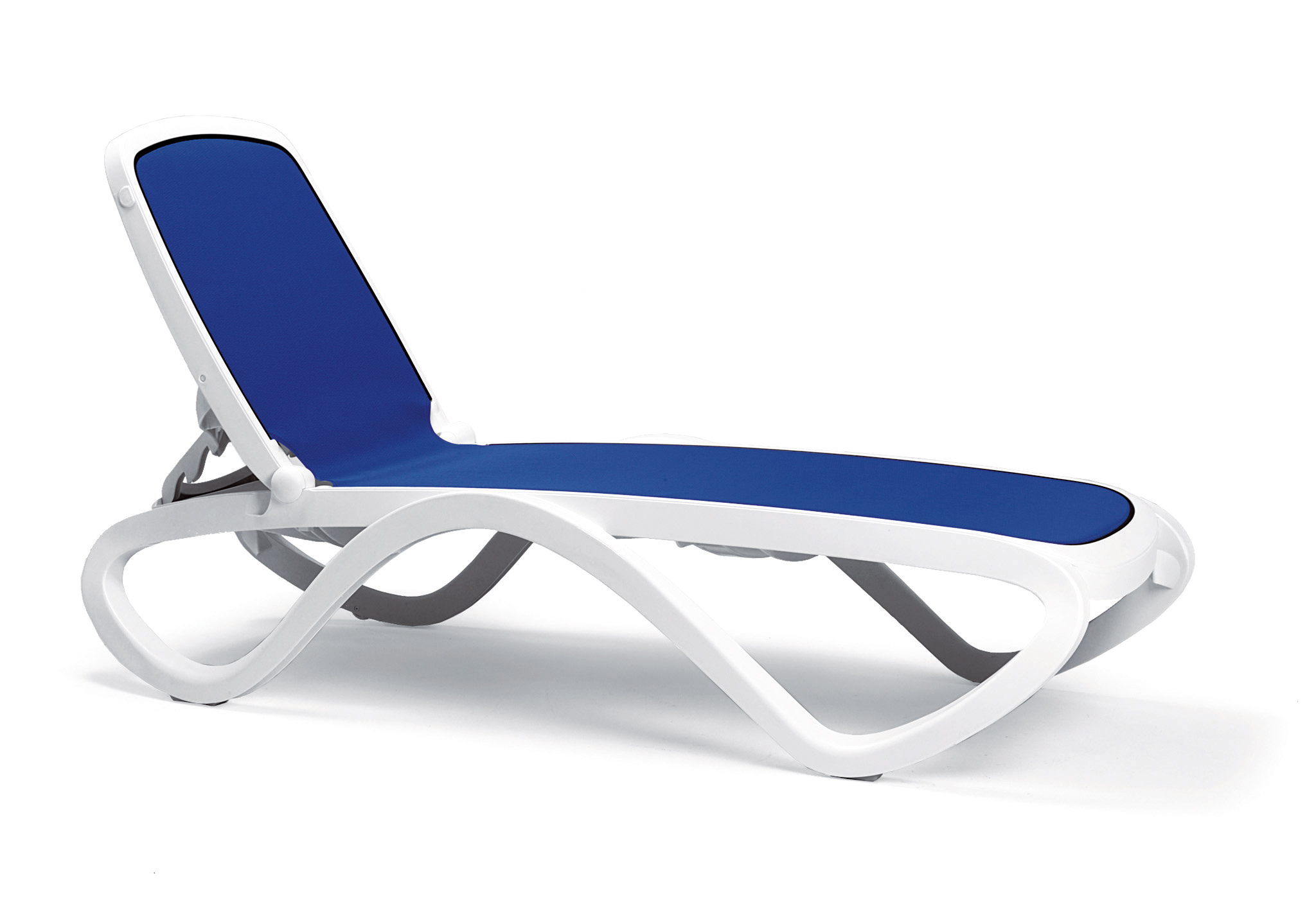 leżak na basen biało niebieski omega nardi