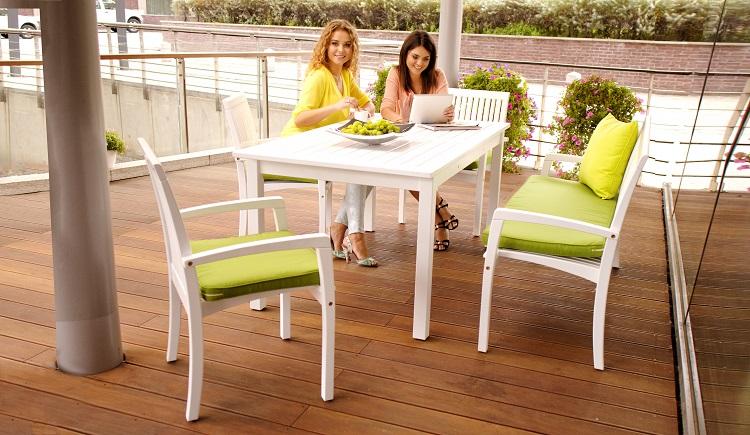 Biały stół ogrodowy drewniany Torino RONDO