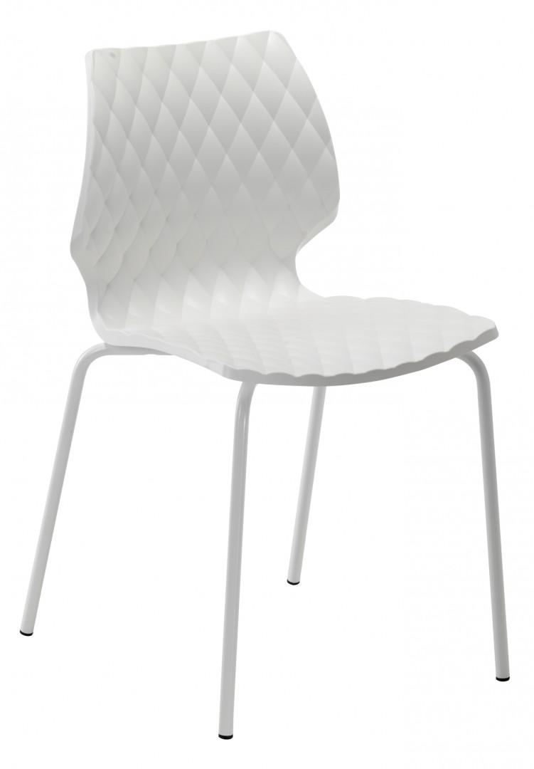 Białe krzesło Uni Metalmobil