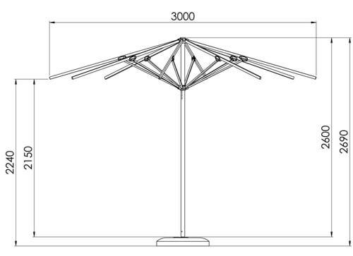 Wymiary parasola Rodos 3 m