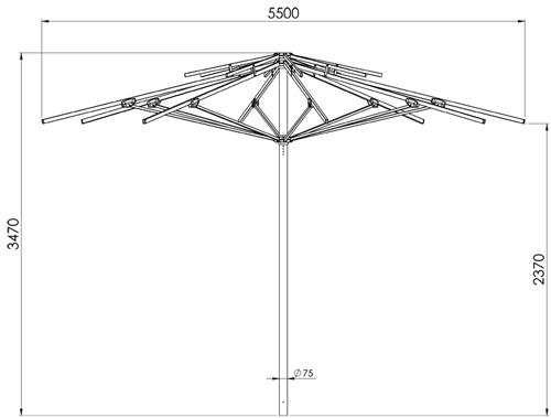 wymiary parasola Vesuvio Litex